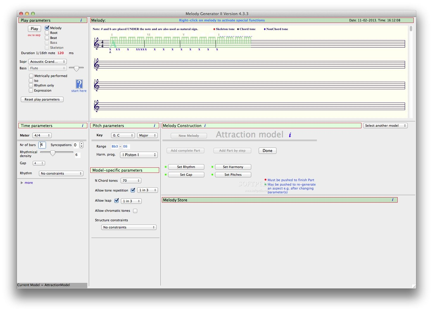Melody Generator screenshot 1 - In the main window of the application you can choose the play and time parameters, as well as access multiple melody construction options.