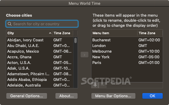 Menu World Time Mac 1 08 - Download