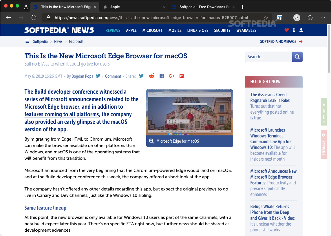 Microsoft Edge Mac 77 0 235 20 Beta / 78 0 262 0 Dev / 78 0
