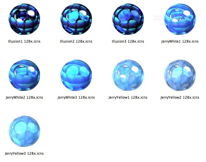 Midnight Aqua Sphere screenshot 1 - The icons included in the collection.
