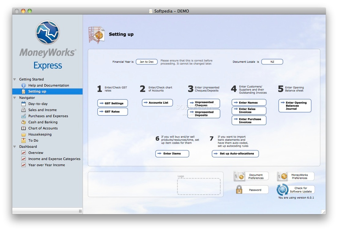MoneyWorks Express screenshot 1 - Here you can see  an overview of all the options.