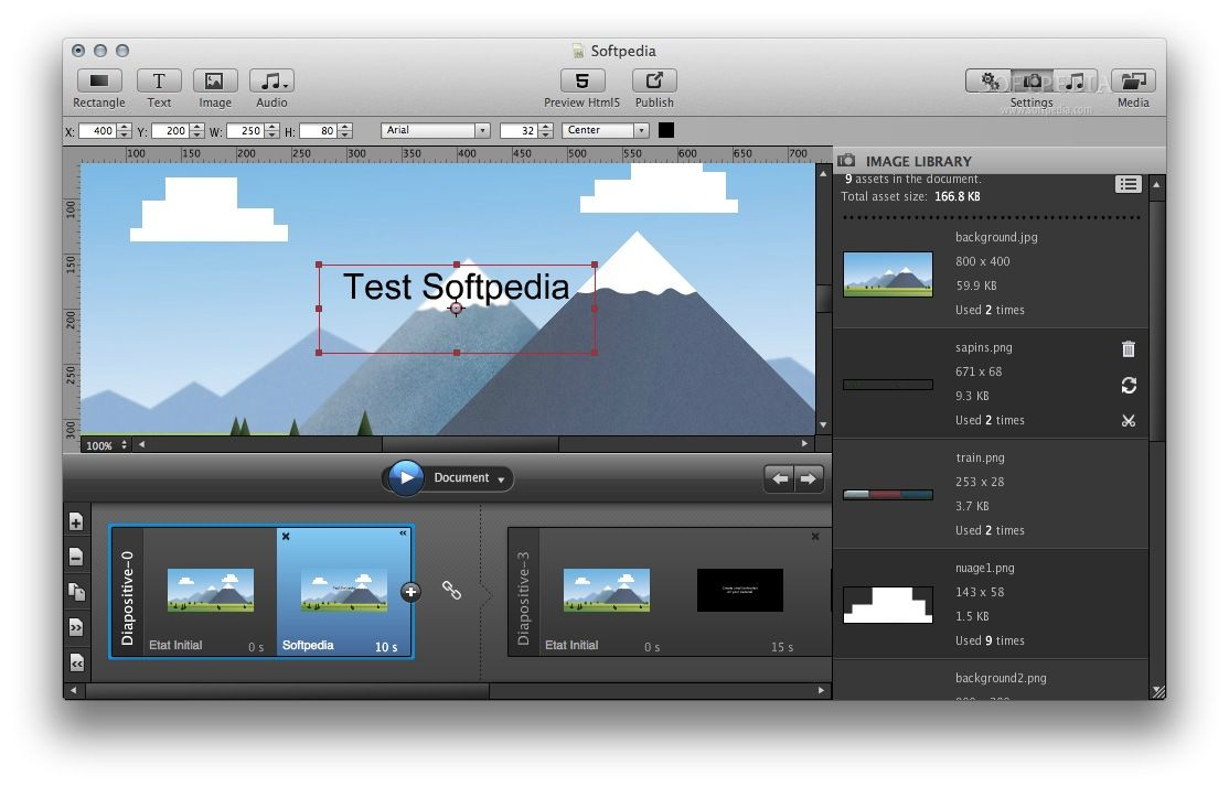 MotionComposer screenshot 3 - By accessing the Image Library panel you can view and edit all the images used in your project.