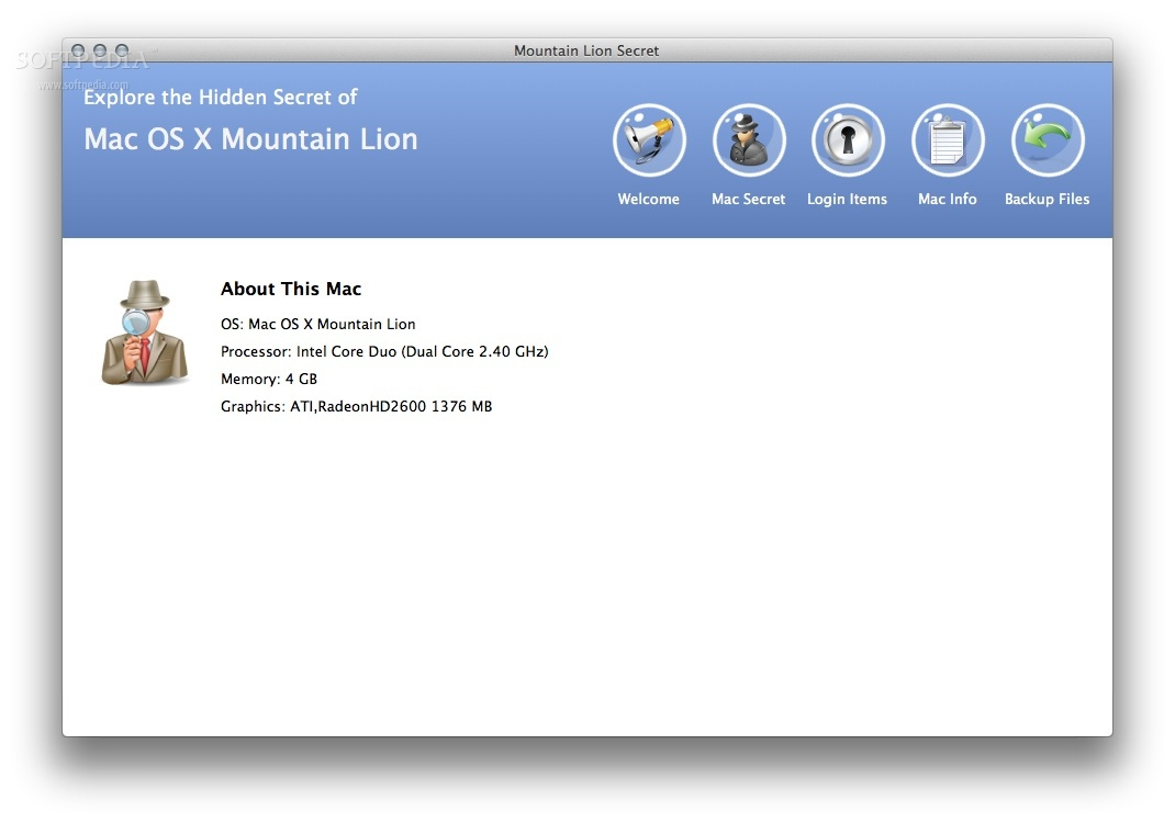 Mountain Lion Secret screenshot 1 - The basic info of your Mac is displayed when you first launch the app.