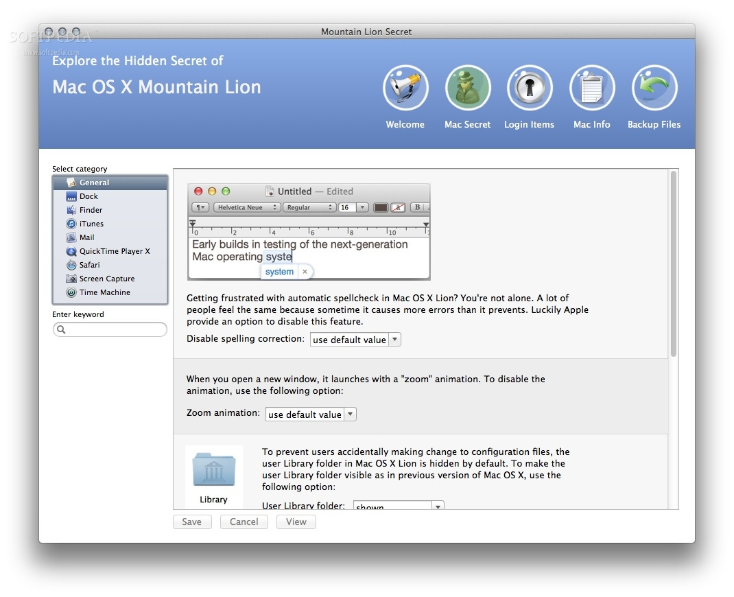 Mountain Lion Secret screenshot 2 - You will be able to access hidden options for Mail, iTunes, Safari, QuickTime and more.