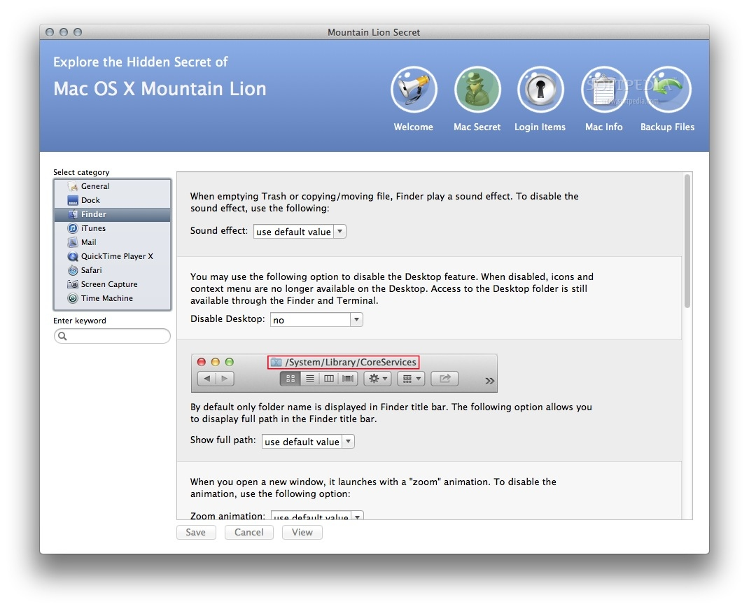 "Mountain Lion Secret screenshot 3 - For example, you can disable the ""empty trash"" sound effect."