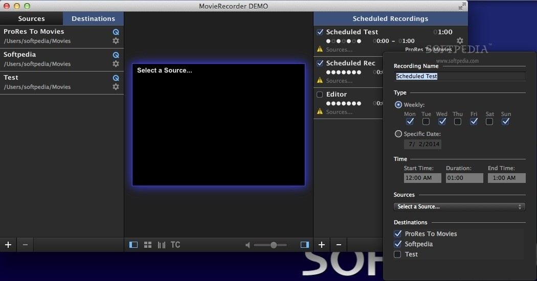 MovieRecorder screenshot 3 - MovieRecorder also allows you to create movie recording schedules.