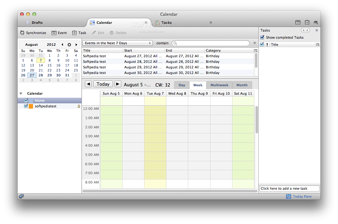 Lightning screenshot 2 - This is the Calendar view, where you can view and manage your tasks and events.