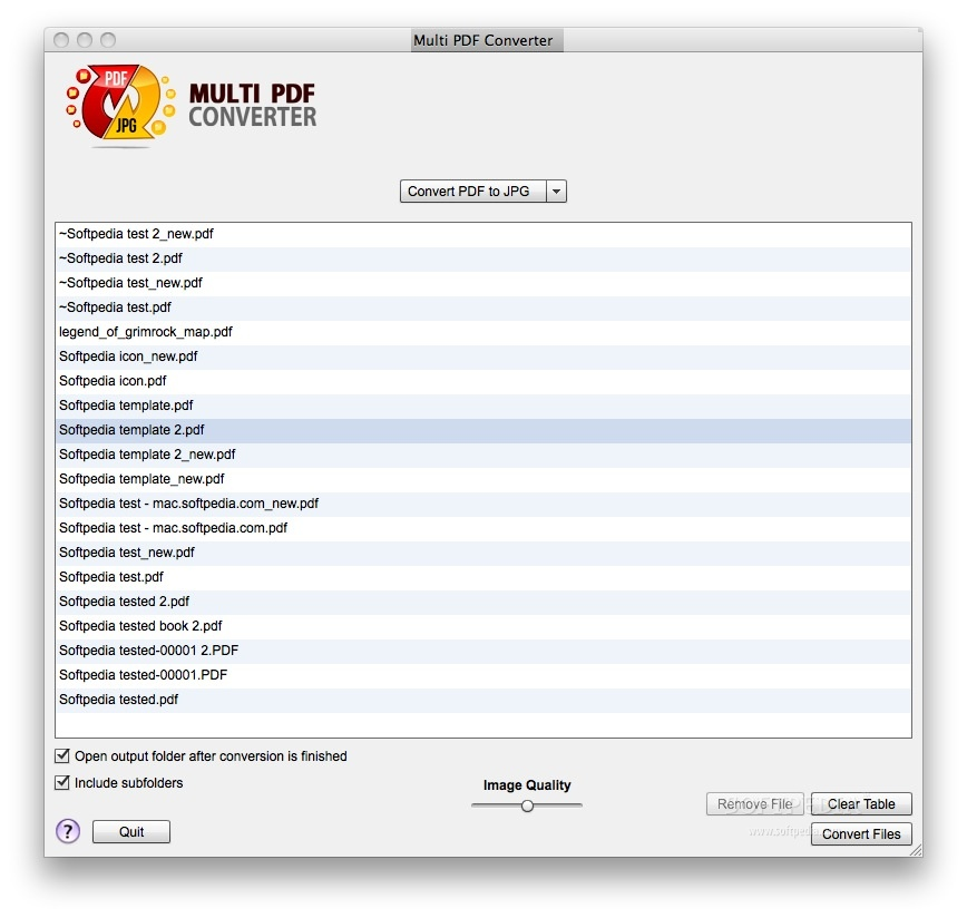 Multi PDF Converter screenshot 1 - Here you can choose the files that you want to convert.