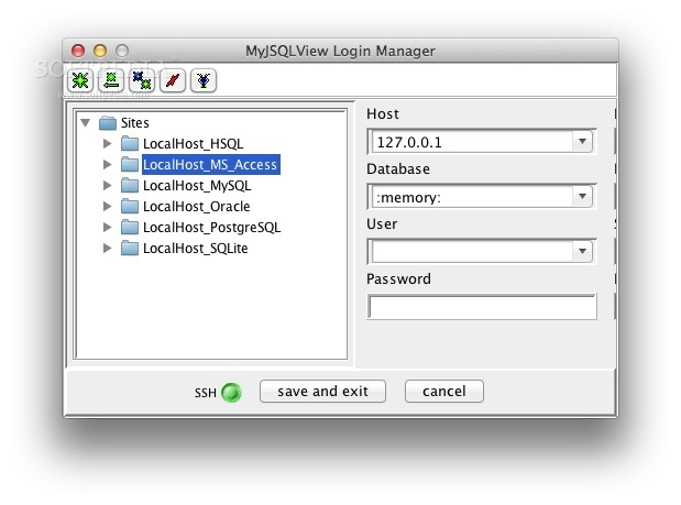 MyJSQLView screenshot 2 - You will be able to configure the database site details in the Login manager.