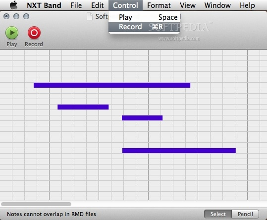 NXT Band screenshot 2 - From the Control menu, users are able to start or record the RMD file.