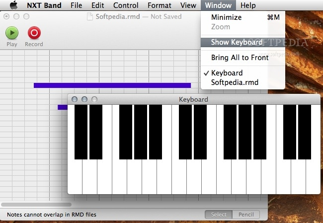 NXT Band screenshot 3 - The keyboard is toggled from the Window menu and lets you create tunes.