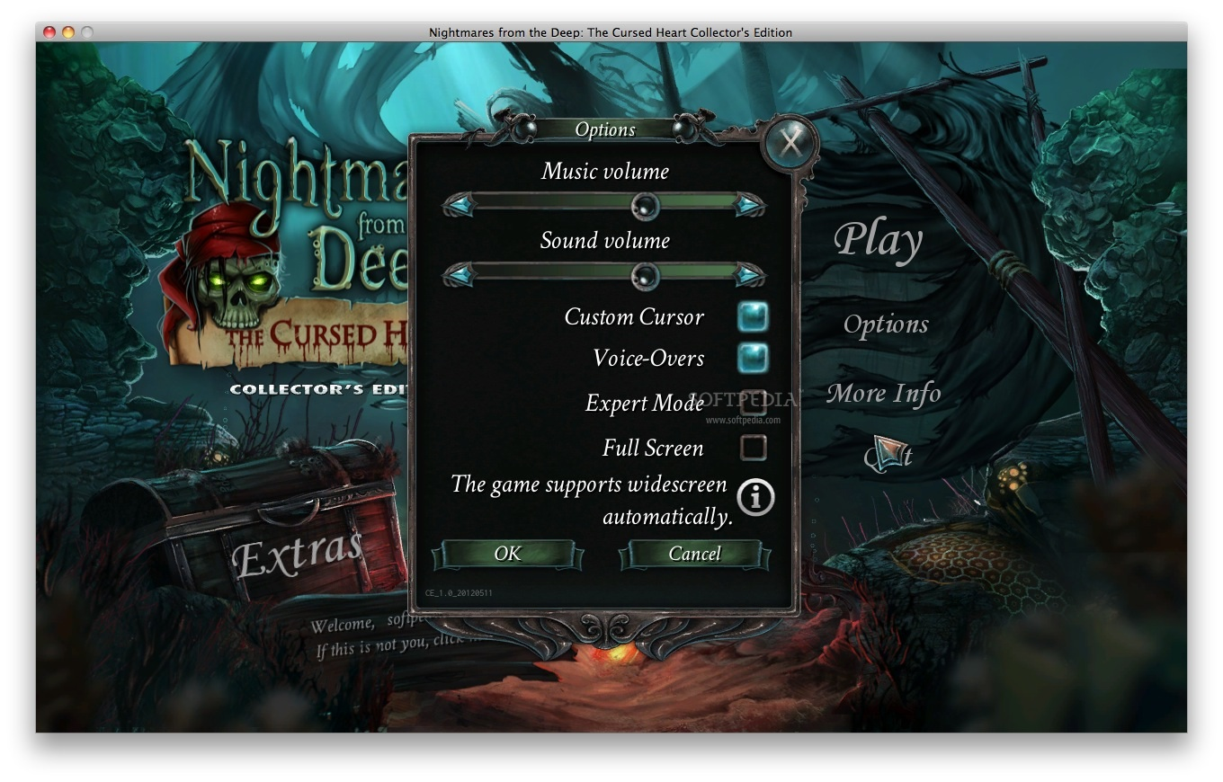 Nightmares from the Deep: The Cursed Heart CE - The Options window