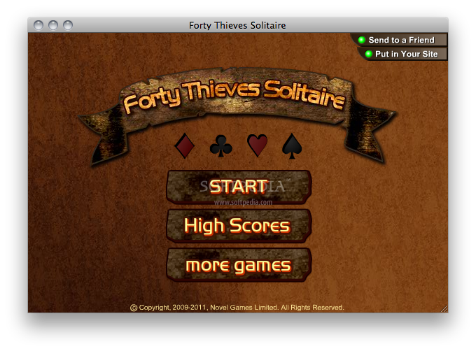 Forty Thieves Solitaire screenshot 2 - The main menu of the game.