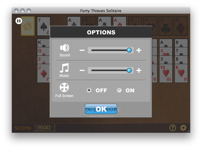 Forty Thieves Solitaire screenshot 3 - Some preferences can be changed here.