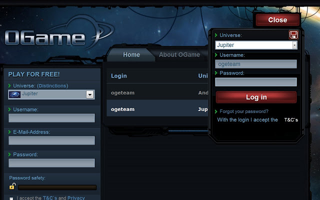 OGame Login Manager Extension screenshot 2 - You will be able to login to OGame more easily.