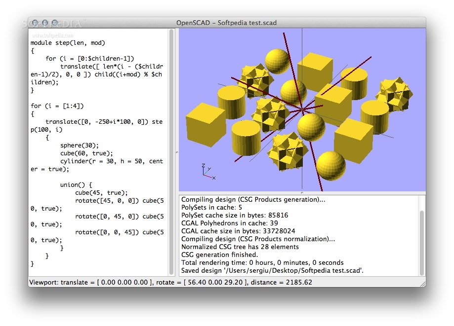 OpenSCAD screenshot 1 - In the main window you will be able to enter your CAD script and to view the rendered result in 3D.