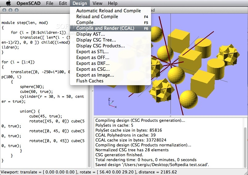 OpenSCAD screenshot 3 - The Design menu enables you to compile and render the CAD script, and to export the resulting model to various 3D formats.