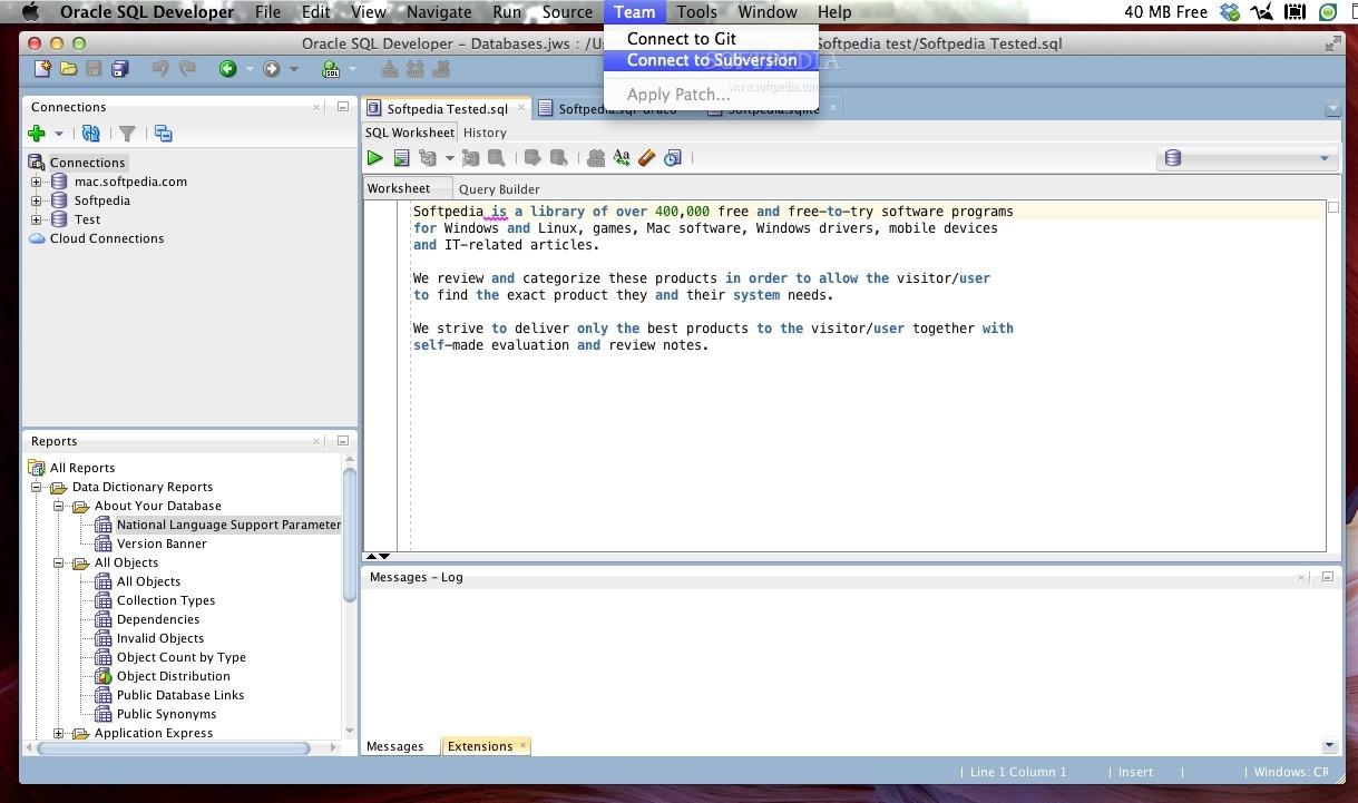 Oracle SQL Developer Mac 3 2 20 09 87 / 4 0 0 13 30 EA3 - Download