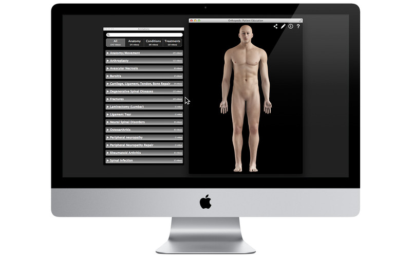 Orthopedic Patient Education screenshot 1 - You can easily select the body part you want to study.