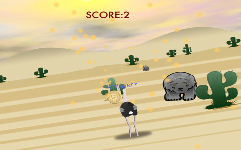 Ostrich Run screenshot 1 - Your objective is to collect as may coins as you can while avoiding enemies.