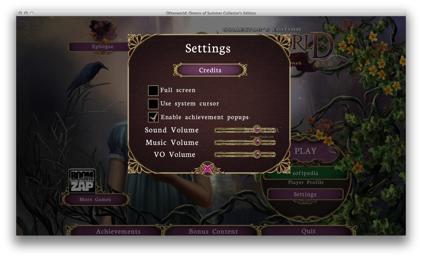 Otherworld: Omens of Summer CE screenshot 4 - In the 'Options' window you can adjust the sound level and more.
