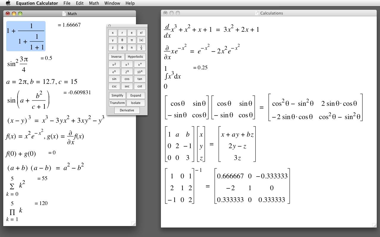 Equation Calculator Mac 1 1 - Download