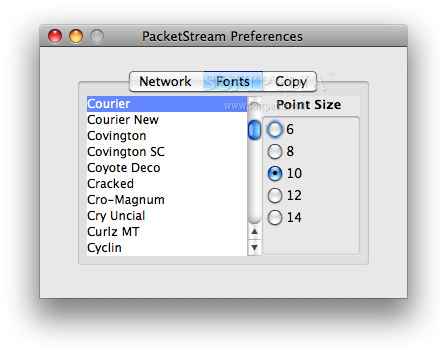 PacketStream screenshot 4 - Font preferences can be changed in this panel.