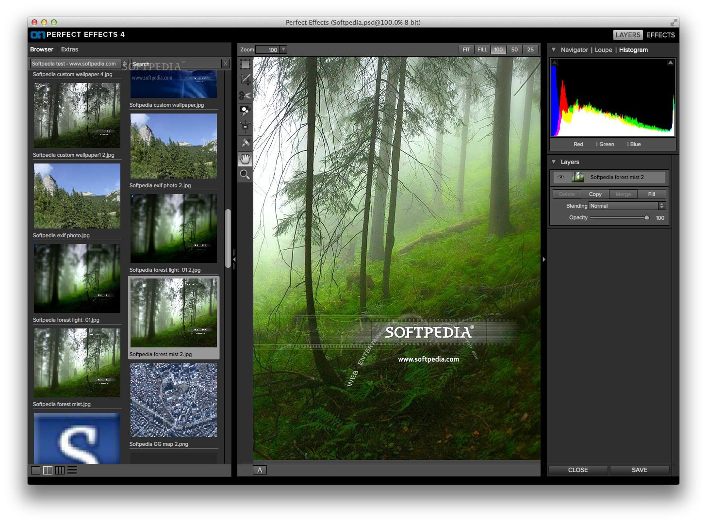 Perfect Effects Premium screenshot 2 - Here you can view the image histogram and add multiple effects to it.