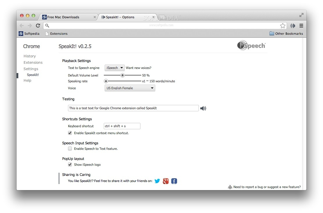 SpeakIt! screenshot 2 - From the Options page you can adjust some playback settings.