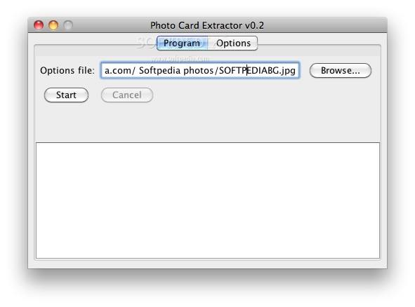 Photo Card Extractor screenshot 1 - This menu allows you to choose a custom options file if available.