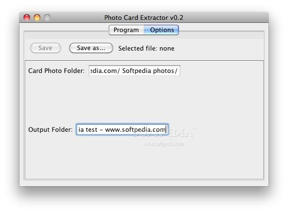Photo Card Extractor screenshot 2 - Some application options can be changed here.