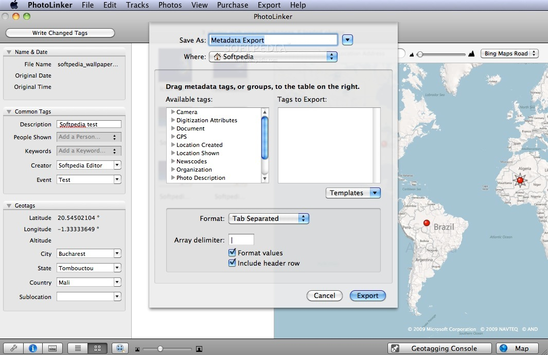 PhotoLinker screenshot 4 - The metadata for exporting images.