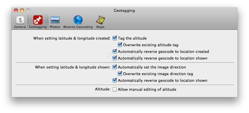 PhotoLinker screenshot 6 - The geotagging preferences.
