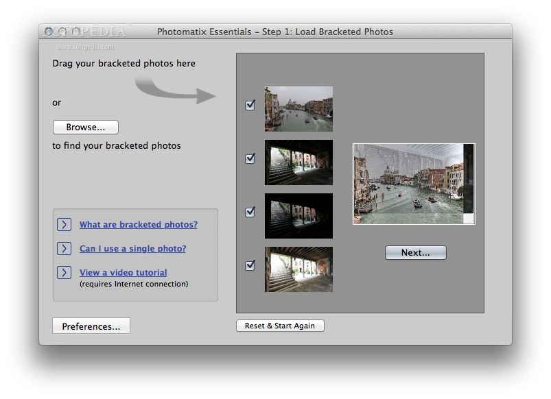 Photomatix Essentials screenshot 1 - Photomatix Essentials' main window enables you to add photographs by dragging and dropping them inside the window.