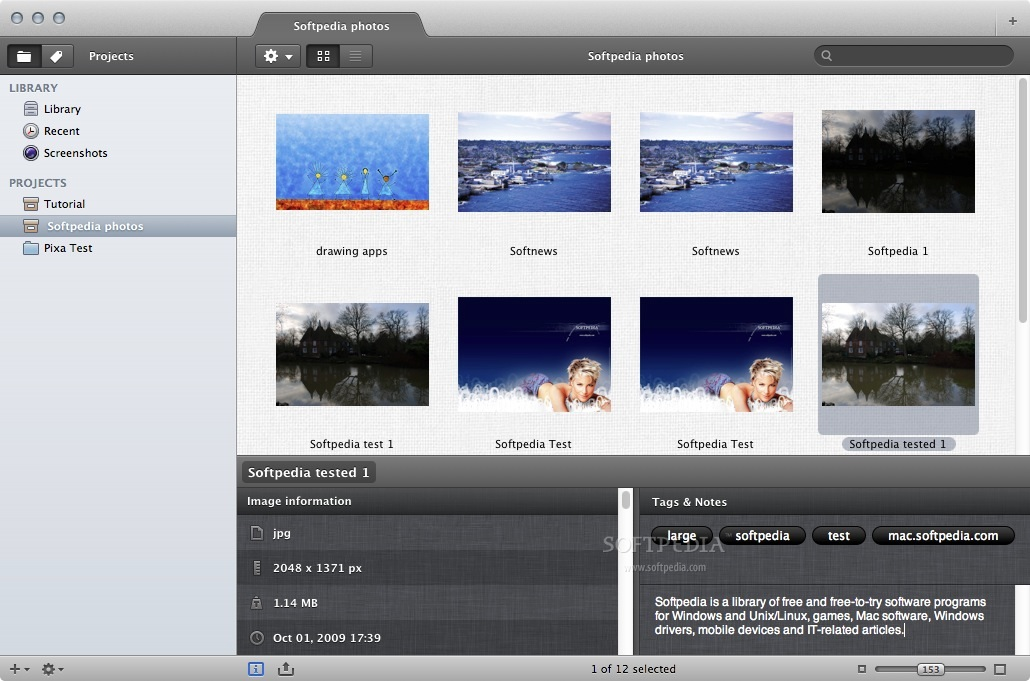 Pixa screenshot 2 - This menu allows you to visualize image information.