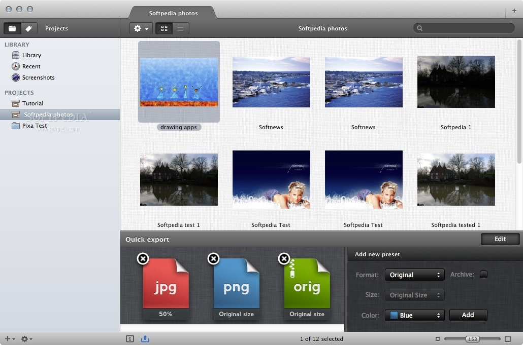 Pixa screenshot 4 - This menu allows you to add a new preset.