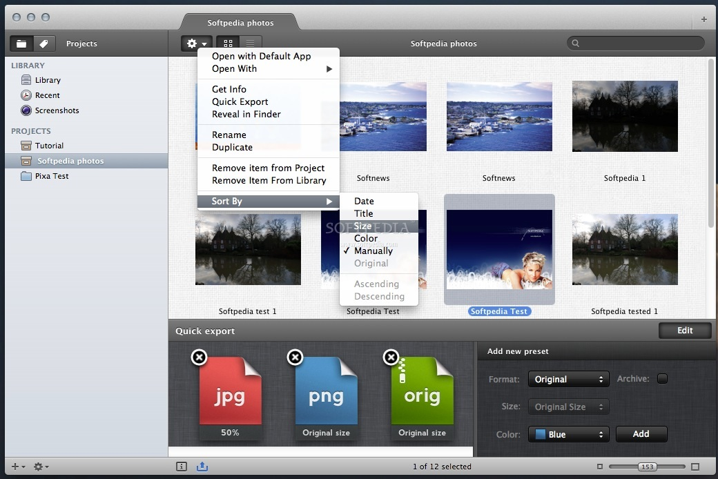 Pixa screenshot 5 - From this menu you can select various image sorting options.