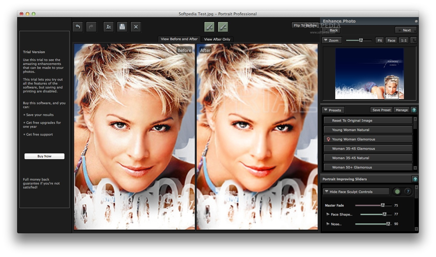 Portrait Professional screenshot 1 - By accessing the main window of the application, you will be able to modify the original photo using presets or sliders.
