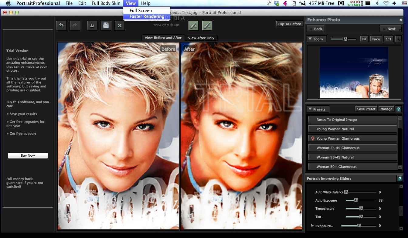Portrait Professional screenshot 3 - From the View menu you can access the Fullscreen and Faster Rendering options.
