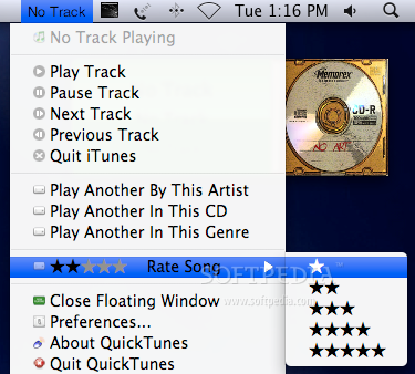 QuickTunes screenshot 3 - From the same menu you can rate a song.