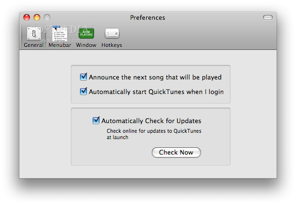 QuickTunes screenshot 4 - In the General preferences tab you can select the option to be announced about the next song that will be played.