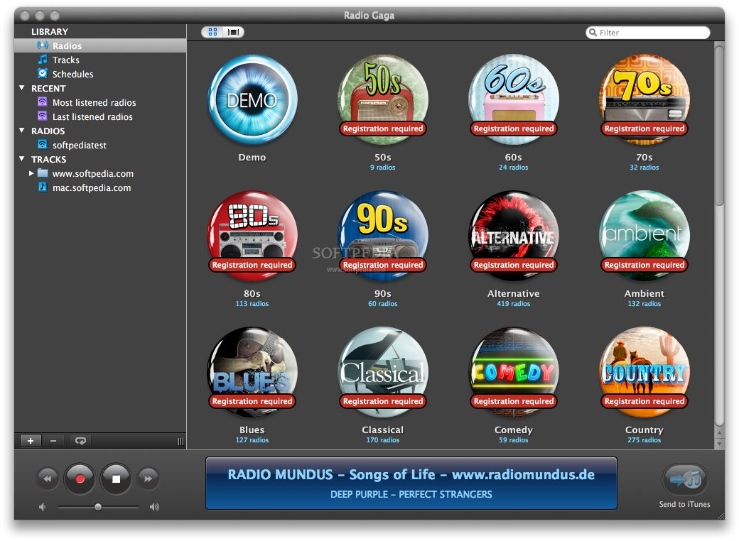 Radio Gaga screenshot 1 - The main window where you can see the radio stations organized by genres.