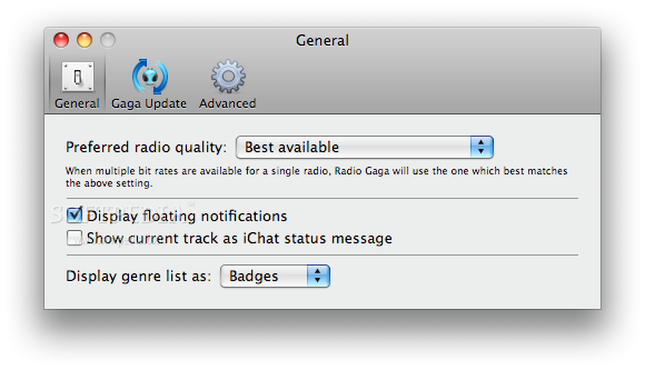Radio Gaga screenshot 3 - The Preferences window where you can set the preferred radio quality.