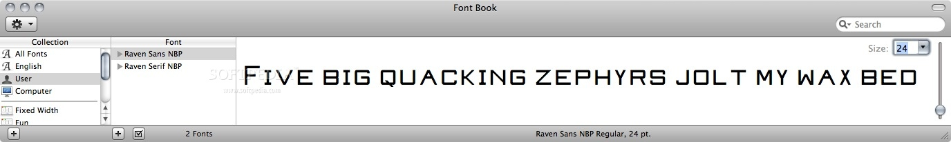 Raven screenshot 1 - You can preview the typeface design in the Font Book main window.