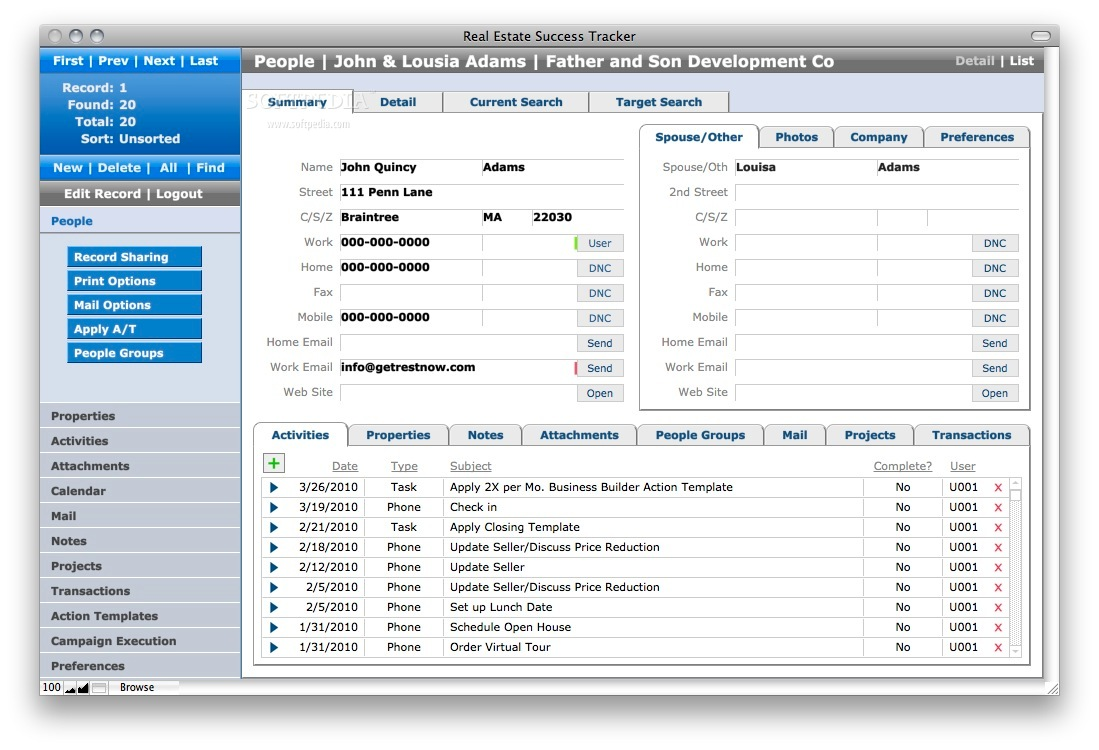 Real Estate Success Tracker screenshot 1 - In this window you can view the number of records, record details, properties, attachments and more.