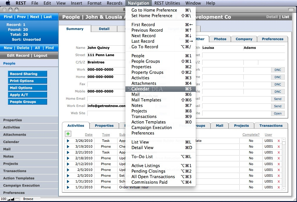 Real Estate Success Tracker screenshot 3 - This menu will allow you to navigate through records and tabs.