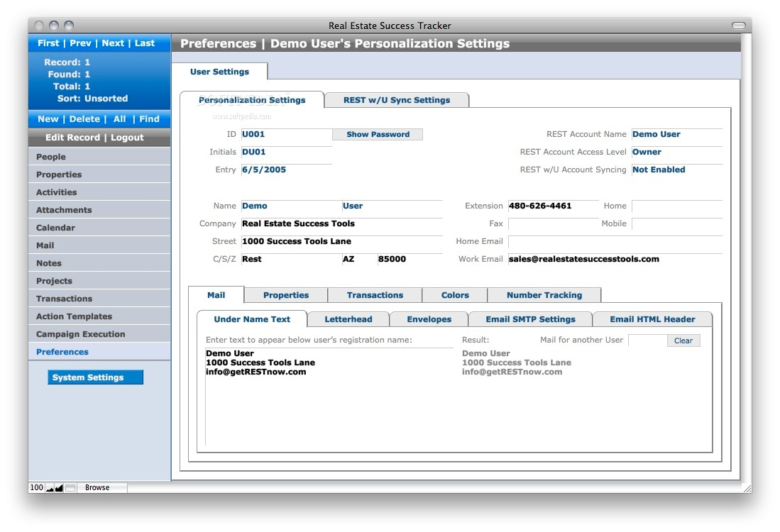 Real Estate Success Tracker screenshot 5 - The preferences can be adjusted from this window.