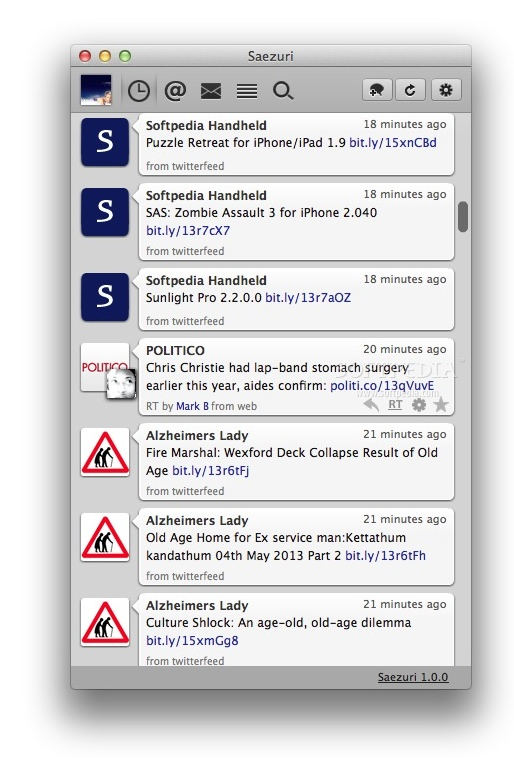 Saezuri screenshot 1 - By accessing the main window of the application, you will be able to read the latest tweets.