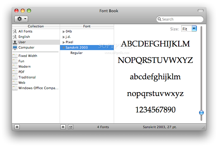 Sanskrit2003 screenshot 1 - The FontBook window where you can see the font design.