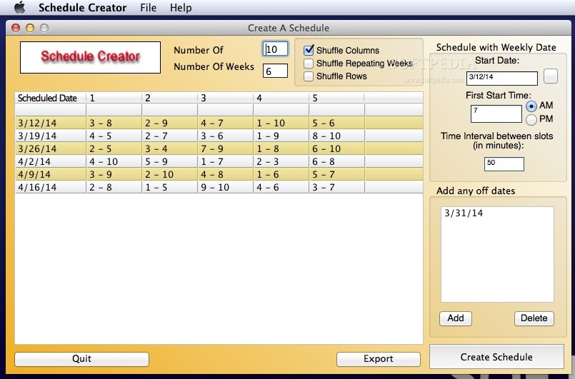 download schedule creator mac 1 2 5